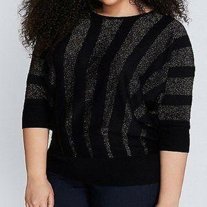 Lane Bryant Chic Metallic Striped Sweater Plus